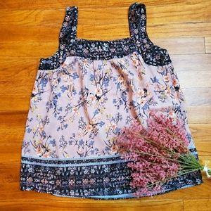 Knox Rose pink floral tank top size XS